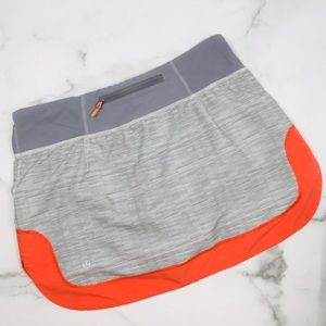 Lululemon Gray & orange tennis skirt